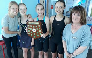McAuley-Catholic-Primary-School-Rose-Bay-students with teachers at swimming carnival