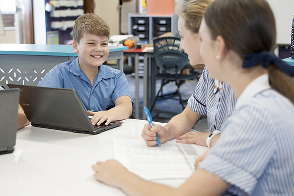 McAuley Catholic Primary School Rose Bay student talking to each other
